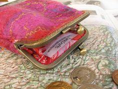 Wet Felted wool coin purse with silk by ZanieCraftsFeltedArt