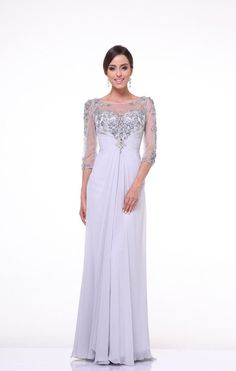 Long Sleeve Formal Mother of the Bride Dress Plus Size Gown