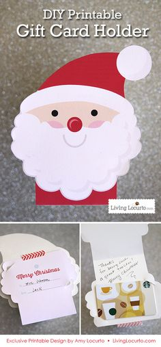 Cute DIY Printable Santa Gift Card Holder Ornament by LivingLocurto.com - Perfect for holding a letter from Santa! #christmas