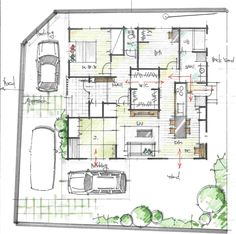 3LDKと共有ウォークイン平屋の間取り Architecture Concept Drawings, Architecture Plan, Craftsman Floor Plans, House Floor Plans, Floor Plan Sketch, Japanese Style House, One Story Homes, Interior Sketch, Story House
