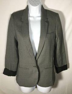 Women's ANTHROPOLOGIE Silence & Noise Black White Blazer Extra Small XS #SilenceNoise #Blazer