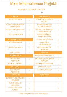 Diese kostenlose Druckvorlage für meinen Haushaltsplan / Putzplan findet ihr jetzt auf dem Blog! :-) #Minimalismus