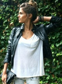 I can't tell you how much I love the simplicity and style of a leather jacket paired with a white t-shirt.