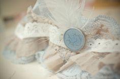 Vintage lace wedding garter. Something blue