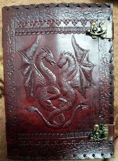 Chinese Fire Dragon Emboss Leather Journal Diary par usaleather, $28.99