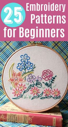 25 Easy Embroidery Projects For Beginners With Free Patterns are just what you need to get started with this fun craft. Tons of beginner cross stitch patterns on this list that result in beautiful wall hangings and samplers! Diy Easy Embroidery, Simple Embroidery Designs, Hand Embroidery Patterns Free, Embroidery Stitches Tutorial, Embroidery Flowers Pattern, Creative Embroidery, Embroidery Hoop Art, Embroidery Techniques, Embroidery Fabric