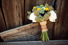 Burlap and Ribbon wrapped bouquet.