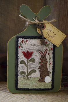 "Primitive Folkart Punch Needle Bunny Spring Rusty Key Hornbook 8.5""H OOAK  #Primitive #Seller"