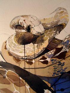 watercolour snake by Rachel Walker