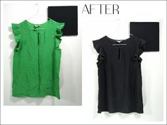 Love your blouse but not the colour? Why not dye it black? Short Sleeve Dresses, Dresses With Sleeves, Repurpose, Colour, Blouse, Clothes, Black, Fashion, Color
