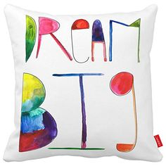 Cazzpc Cushion Cover Watercolor Doodle Quote Dream Big Letter Word Print Home Decor Super Soft Fabric >>> You can get additional details at the image link. (This is an affiliate link) #PillowCovers