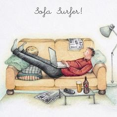 """Cards """"Sofa Surfer """" - Berni Parker Designs ღ✟ Sofa Surfers, Crazy Friends, Art Impressions, Illustrations, Funny Cards, Watercolor Cards, Masculine Cards, Man Humor, Happy Fathers Day"""