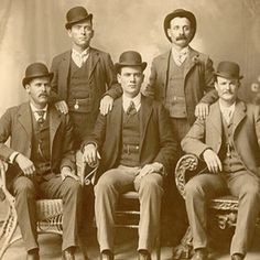 1888 - 1902, The Wild Bunch Gang became the most successful train-robbing gang in US Wild West history. They claimed to make every attempt to abstain from killing people, and leader Butch Cassidy (far right) boasted of having never killed a man. In 1901 the gang robbed a First National Bank and split for different countries and in 1908, Cassidy and Sundance were allegedly killed in a shootout with Bolivian cavalry, although their death is still a mystery.