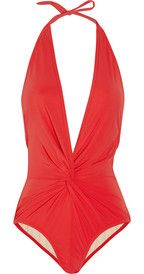 Karla CollettoGathered plunge-front swimsuit