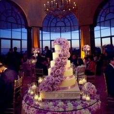 This is definitely a fabulous wedding cake that totally matches the purple color theme. It's a tiered wedding cake that's definitely going to steal the spotlight!