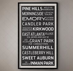 Atlanta Georgia Bus List Print  Subway Sign / by FoundryCo on Etsy