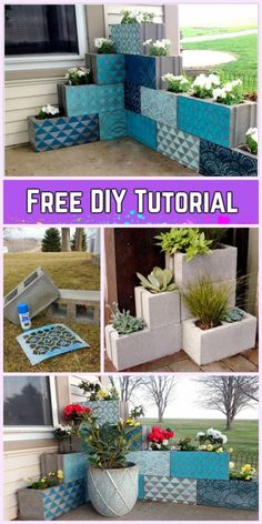 DIY Vertical Corner Cinder Block Planter Tutorials-Video DIY Vertical Corner Cinder Block Pflanzer T - All About Gardens Diy Patio, Backyard Patio, Diy Yard Decor, Pergola Patio, Outdoor Projects, Garden Projects, Outdoor Crafts, Diy Projects, Cinder Block Garden