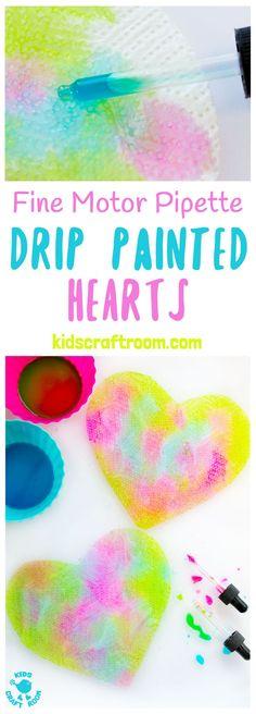 Pipette Drip Painting Hearts | @KidsCraftRoom
