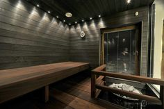 Modern Saunas, Sauna Design, Sauna Room, Wellness Spa, Hotel Spa, Dark Wood, Modern Lighting, Home And Living, Sweet Home