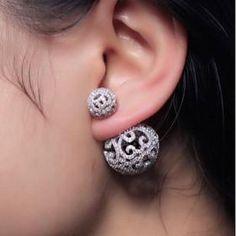 Diamond Lace Ball Stud Earrings. Pave Double Ball Earrings Vintage Bridal Studs