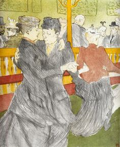 Dancing at the Moulin Rouge, Henri de Toulouse-Lautrec. French Post-Impressionist Painter, Printmaker (1864-1901)