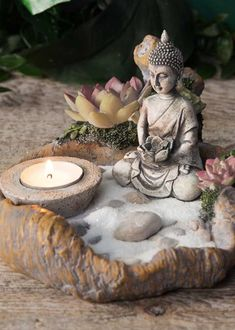 zen garden kit complete with candle holder and buddha statue. Discover the ancient art of cultivating your very own zen garden and discover the calming energy which reduces stress and anxiety. Jardin Zen Miniature, Mini Jardin Zen, Mini Zen Garden, Garden Art, Buddha Meditation, Meditation Corner, Meditation Garden, Meditation Music, Buddha Gold