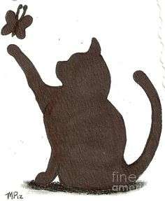 Cat playing with Butterfly by. Maryleeparker