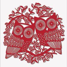 Paar Eulen rot papercut