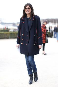 Très Chic! The Best Street Style at Paris Fashion Week: Emmanuelle Alt didn't need more than a classic military-inspired coat, denim, and boots to catch our eye outside the shows.