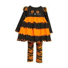 Bonnie Jean Orange Halloween Cat Set. Orange and black Halloween kitty tunic and pant set for little girls. See More Girl Clothes at http://www.ourgreatshop.com/Girl-Clothes-C197.aspx