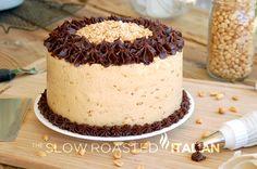 Peanut Butter Fudgy Chocolate Cake from theslowroateditalian.com #dessert #cake