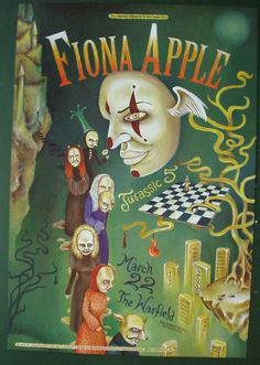 Original concert poster for Fiona Apple at The Warfield in San Francisco. Art by Lisa Eng. 13x19 card stock. BGP273