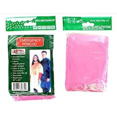 4 Pk Pink Emergency Hooded Rain Poncho  FOUR (4) Emergency Hooded Rain Ponchos CLEAR Most of us don't think far enough ahead, especially if we trust our weatherperson. Dropping the kids off at school, out hiking, hunting, fishing or running we normally are not prepared when wet weather strikes. How many times have you a left for work or an outing on a bright sunny day, only to have it cloud up and pour. This is a MUST HAVE item, that everyone should have at home, in the car, boat, RV and…