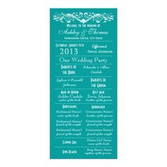 Vintage Typography Style Teal Wedding Programs with turquoise aqua blue background and an elegant flourish with heart at top.  Two Sided Vertical wedding programs.