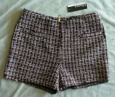 NWT Anthropologie Ellison Womens Tweed Shorts Rough hem Pink/White/Black SZ S  #Anthropologie #DressShorts