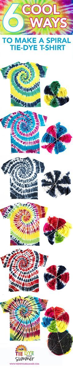 Get inspired to Tie Dye Your Summer with a spiral t-shirt. Create your own in all colors of the rainbow to play up your personal fave colors for your wardrobe. From rainbow to solid colored, there's lots of cool options for dyeing your tie dye t-shirt with Tulip One-Step Tie Dye!