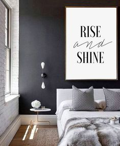 Quote Prints, Typography Print, Word Art, Bedroom Decor, Inspirational Quote, Motivational Poster, Rise and Shine, Quote Poster, Wall Art #homedecorideas #homedecoronabudget #homedecordiy #homedecorideasmodern #homeoffice #homedecor #homeideas #wallart #walldecor #wallartdiy #print #art #digital #quoteprints #quoteposter #quotewallart #inspirationalquote #wordprints #wordart