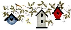 Sparrow's Retreat - Stencil with Assorted Birdhouses on Vine (Large)