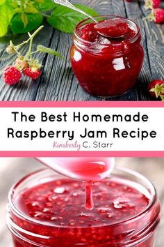 Homemade Raspberry Jam This is the best raspberry jam recipe I've ever tasted! It's easy, doesn't need pectin, and delicious on bread or as a dessert topping. Raspberry Jelly Recipe, Raspberry Freezer Jam, Homemade Raspberry Jam, Raspberry Jam No Pectin, Raspberry Preserves, Chutney, Blueberry Jam, Jam And Jelly, Canning Recipes