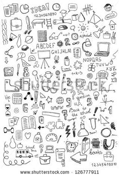Find School Objects stock images in HD and millions of other royalty-free stock photos, illustrations and vectors in the Shutterstock collection. Mini Drawings, Small Drawings, Doodle Drawings, Easy Drawings, Doodle Art, Doodle Images, Notebook Doodles, Note Doodles, Doodle Techniques