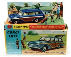 Ford Consul Cortina Corgi Toys. golfer, caddy, trolley packaged pictorial Card plinth