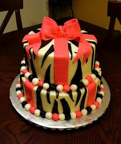 """This adorable cake is a vanilla cake, with vanilla buttercream and fondant accents! The bow is fondant as well. I gave the cake a """"gift box"""". Vanilla Buttercream, Vanilla Cake, Zebra Print Cakes, Zoo Cake, Let Them Eat Cake, Fondant, Hot Pink, Desserts, Birthday Cakes"""