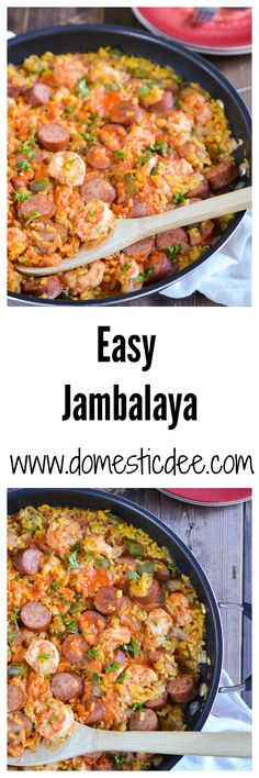 Easy Jambalaya Recipe-This easy jambalaya recipe is a classic dish of Louisiana. It contains turkey smoked sausage, shrimp, and rice with a ton of flavor all while still being an easy jambalaya recipe (Sausage Rice Recipes) Seafood Dishes, Seafood Recipes, Chicken Recipes, Cooking Recipes, Healthy Recipes, Donut Recipes, Cooking Ideas, Easy Cajun Recipes, Gastronomia