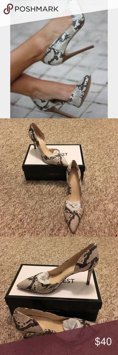 NWT Nine West Stefao snakeskin heels 👠 NWT Nine West Stefao snakeskin heels 👠 never been worn beautiful heels. Very comfortable, cushioned footbed. Snakeskin covered heel, about 3 inches tall. Perfect for work or a night out! Nine West Shoes Heels
