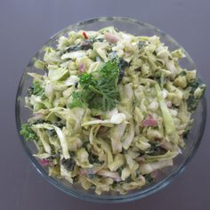 Avocado Coleslaw With Kale and Cabbage - this is excellent as a dip or paired with grass-fed burgers. Not quite a traditional coleslaw, but super delicious! | Frugal Nutrition #paleo #ontheblog #avocado #yum