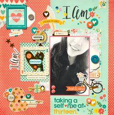 #papercraft #scrapbook #layout - Taking a Self-Me at Thirteen *Simple Stories I Am* - Scrapbook.com
