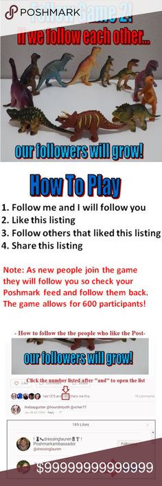Follow Game #2! ❤️ Please Keep Sharing ❤️ Let's help each other build our network of followers! Then when we share our items they will reach more people.   1) Follow me and I will follow you  2) Like this listing  3) Follow the other people that liked this listing (see directions included in post)  4) Share this listing   The game allows 600 participants. As new people join the game they will follow you so please take the time to check your feed and follow them back.  ❤️Please Play Fair❤️…