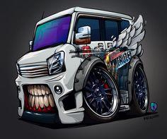 「 Done! #BeastedUp Suzuki Every Wagon (vinyl work by @vimadness ) #nitrouzzz #AndreyPridybaylo #art #suzuki #everywagon #suzukievery #car #carwithteeth… 」