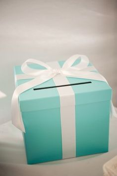 Aqua / Tiffany Blue and White Wedding Card Box