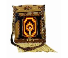 Native American Hand Made Pendleton w. Beadwork Purse: Black, Orange, Yellow | Purses, Bags & Amulets | Products Prairie Edge